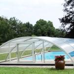 Abri de piscine semi-haut double porte